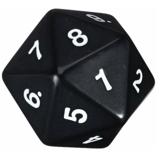 D20 Countdown Dice 55 mm - Black