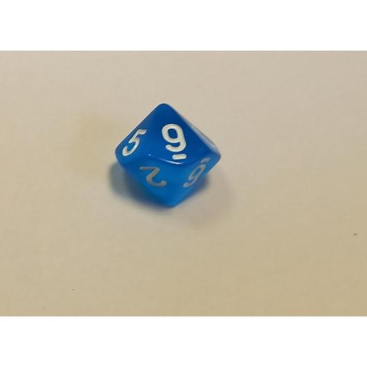 Áttetsző kék dobókocka D10