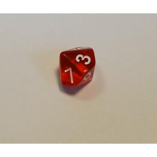 Áttetsző piros dobókocka D10