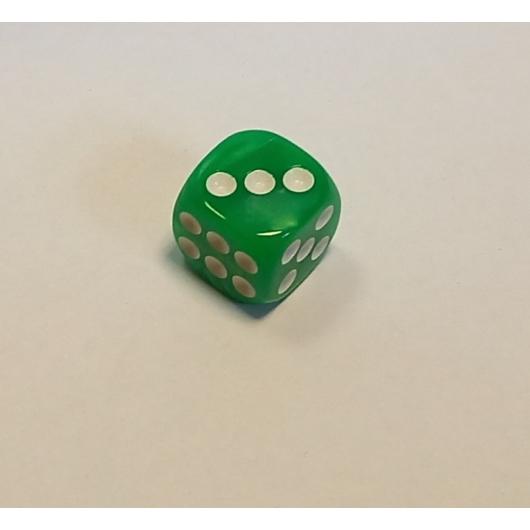 Opálos világos zöld dobókocka D6